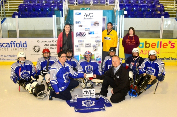 Sheffield Steelkings receiving their sponsorship cheque from David Burniston on behalf of AMG Superalloys.